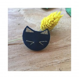 GUSTAVE - Broche chat en cuir